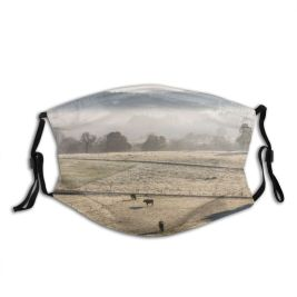 yanfind Dawn Atmospheric Frost Four Mood Grass Landscape Dairy Holstein Agriculture Tranquility Rural Dust Washable Reusable Filter and Reusable Mouth Warm Windproof Cotton Face