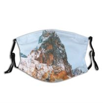 yanfind Idyllic Ice Frosty Mountain Enviroment Snowy Rock Icy Frozen Tranquil Scenery Capped Dust Washable Reusable Filter and Reusable Mouth Warm Windproof Cotton Face