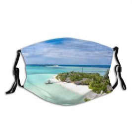yanfind Idyllic Tropical Coast Vacation Daylight Indian Relaxation Sea Beach Tourism Island Caribbean Dust Washable Reusable Filter and Reusable Mouth Warm Windproof Cotton Face