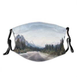 yanfind Country Louise America Americas Range Landscape Point Coniferous Tranquility Banff Tree Scene Dust Washable Reusable Filter and Reusable Mouth Warm Windproof Cotton Face