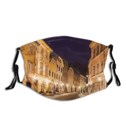 yanfind Capital Downtown Cities Ljubljana District Night Snow City Place Architecture Diminishing Exterior Dust Washable Reusable Filter and Reusable Mouth Warm Windproof Cotton Face