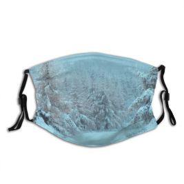 yanfind Country Social East Dramatic Frost Landscape Wheel Trip Winding Frozen Tree Snow Dust Washable Reusable Filter and Reusable Mouth Warm Windproof Cotton Face