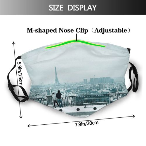 yanfind Capital Casual Eiffel Cities France Togetherness  Railing City Exterior Building Sidewalk Dust Washable Reusable Filter and Reusable Mouth Warm Windproof Cotton Face