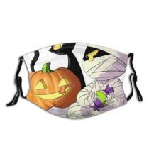 yanfind Horror Halloween Cat Cute Fear Night Autumn October Pumpkin Spooky Design Ghost Dust Washable Reusable Filter and Reusable Mouth Warm Windproof Cotton Face