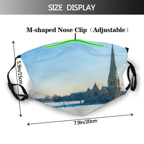 yanfind Capital Cities Frozen Church Built London Snow Place Architecture Exterior Sky Space Dust Washable Reusable Filter and Reusable Mouth Warm Windproof Cotton Face