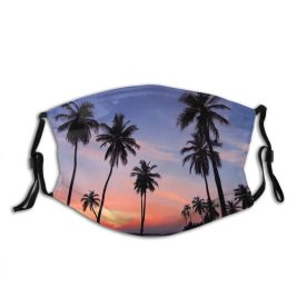 yanfind Idyllic Tropical Dawn Clouds Plants Tranquil Palm Zoom Paradise Trees Sky Pretty Dust Washable Reusable Filter and Reusable Mouth Warm Windproof Cotton Face