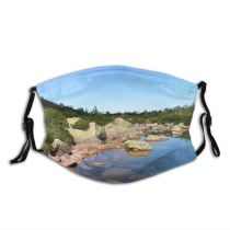 yanfind Moutain Resources Lake Natural Wilderness Pond Watercourse Landscape Rocks Rock Trees River Dust Washable Reusable Filter and Reusable Mouth Warm Windproof Cotton Face