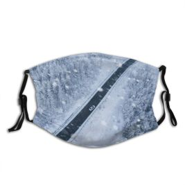 yanfind Country Drone East Aerial Frost Canopy Landscape Point Trip Winding Frozen Falling Dust Washable Reusable Filter and Reusable Mouth Warm Windproof Cotton Face