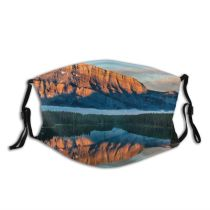yanfind Lake Daylight Calm Sunset Reflections Mountain Forest Clouds Scenery Majestic Scene Mountains Dust Washable Reusable Filter and Reusable Mouth Warm Windproof Cotton Face