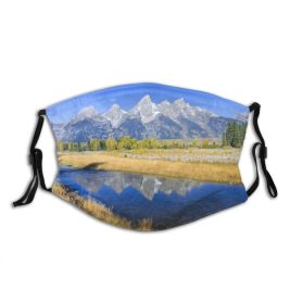 yanfind Jackson Peaceful Wilderness Reflections Grand Wyoming Tarn Tetons Mountainous River Sky Mountain Dust Washable Reusable Filter and Reusable Mouth Warm Windproof Cotton Face