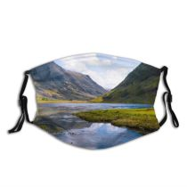 yanfind Lake Daylight Clouds Tourism River Scenery Mountains Beautiful Grass Valley Hills Outdoors Dust Washable Reusable Filter and Reusable Mouth Warm Windproof Cotton Face