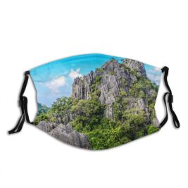 yanfind Idyllic Tropical Foliage Sight Greenery Mountain Forest Clouds Plants Scenery High Mountains Dust Washable Reusable Filter and Reusable Mouth Warm Windproof Cotton Face
