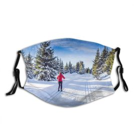 yanfind Country Ski Sport Oberhof Lifestyle Hill Frozen Lifestyles Pursuit Tree Snow Scene Dust Washable Reusable Filter and Reusable Mouth Warm Windproof Cotton Face