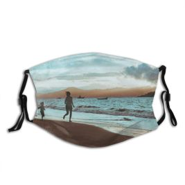 yanfind Idyllic Tropical Shore Oceanside Seaside Dawn Recreation Leisure Waves Sea Clouds Beach Dust Washable Reusable Filter and Reusable Mouth Warm Windproof Cotton Face