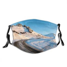 yanfind Country Roadside Social Capital Winding Environmental Landscape Point Trip Iceland Tranquility Polar Dust Washable Reusable Filter and Reusable Mouth Warm Windproof Cotton Face