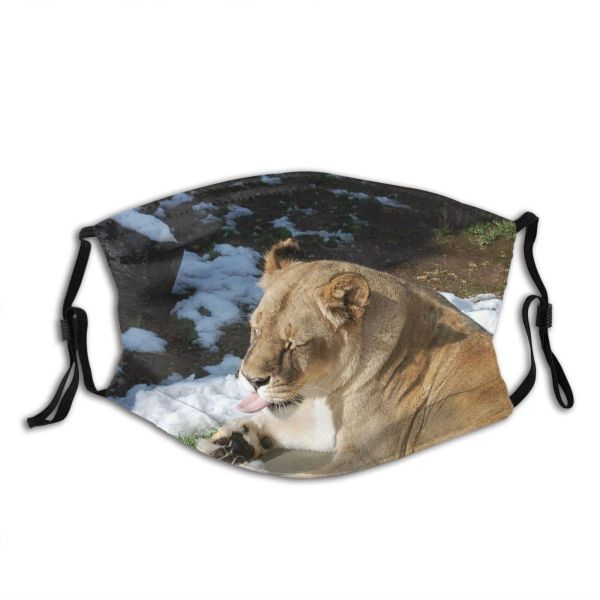 yanfind Winter Felidae Big Tongue Wilderness Carnivore Cat Pad Lion Whiskers Vertebrate Cats Dust Washable Reusable Filter and Reusable Mouth Warm Windproof Cotton Face