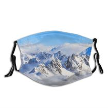 yanfind Idyllic Ice Glacier Daylight Frost Mountain Clouds Switzerland Frozen Tranquil Scenery Altitude Dust Washable Reusable Filter and Reusable Mouth Warm Windproof Cotton Face