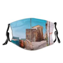 yanfind Bucolic Architecture Italy Street Mediterranean Town Ancient Scenic Medieval Village Island Travel Dust Washable Reusable Filter and Reusable Mouth Warm Windproof Cotton Face
