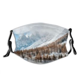 yanfind Country Ice Ski Sport Courmayeur Alps Mont Landscape Walkway Peak Scene Snow Dust Washable Reusable Filter and Reusable Mouth Warm Windproof Cotton Face
