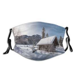 yanfind Country Ski Ice Sport Frost Wood Cabin Skating Landscape Frozen Resort Rink Dust Washable Reusable Filter and Reusable Mouth Warm Windproof Cotton Face