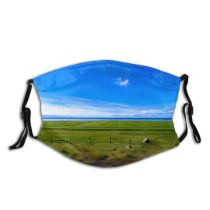 yanfind Idyllic Fair Farm Pasture Motion Farmland Field Clouds Lawn Tranquil Scenery Rural Dust Washable Reusable Filter and Reusable Mouth Warm Windproof Cotton Face