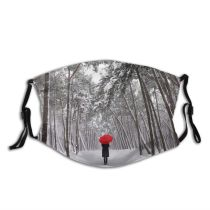 yanfind Public Away Umbrella Frost Contemplation Solitude Like Rural Senior Tree Scene Snow Dust Washable Reusable Filter and Reusable Mouth Warm Windproof Cotton Face