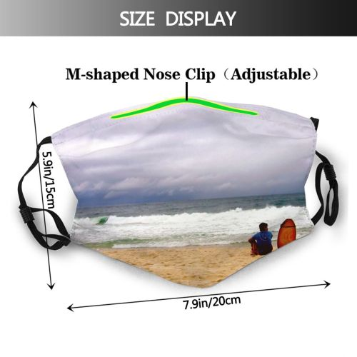 yanfind Wave Sand Coast Shore Copacabana Tropic Beach Sky Ocean Vacation Tropical Brasil Dust Washable Reusable Filter and Reusable Mouth Warm Windproof Cotton Face