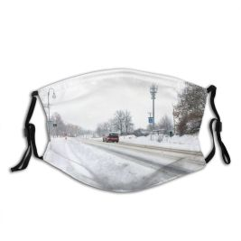 yanfind Country Ice Transport Social Frost Snowdrift Frozen Powder Rural Tree Scene Snow Dust Washable Reusable Filter and Reusable Mouth Warm Windproof Cotton Face
