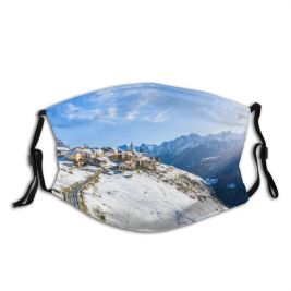 yanfind Country Swiss Europe Frost Aerial Alps Range Landscape Winding Trip Tranquility Peak Dust Washable Reusable Filter and Reusable Mouth Warm Windproof Cotton Face
