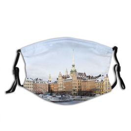yanfind Capital Scandinavia Cities Journey Snow City Craft Sweden Architecture Stan Sky Stockholm Dust Washable Reusable Filter and Reusable Mouth Warm Windproof Cotton Face