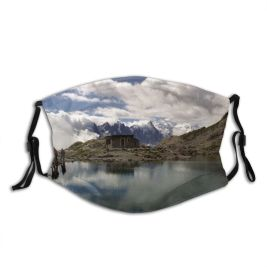 yanfind Lac Trekking Tarn Hiking Blanc Highland Outdoor Mountainous Blanc Sky Mountain Lake Dust Washable Reusable Filter and Reusable Mouth Warm Windproof Cotton Face