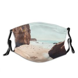 yanfind Idyllic Tropical Coast Daylight Waves Sea Beach Tranquil Island Cliff Misty Hazy Dust Washable Reusable Filter and Reusable Mouth Warm Windproof Cotton Face