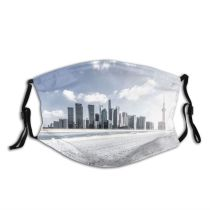 yanfind Ice Skyscraper Capital East Downtown Cities Communication District Snow Rippled City Modern Dust Washable Reusable Filter and Reusable Mouth Warm Windproof Cotton Face