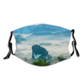 yanfind Idyllic Tropical Calm Gloomy Forest Plants Tranquil Mountains Country Leaves Rural Misty Dust Washable Reusable Filter and Reusable Mouth Warm Windproof Cotton Face
