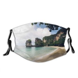 yanfind Idyllic Tropical Shore Coast Vacation Oceanside Seaside Rock Sea Clouds Beach Surf Dust Washable Reusable Filter and Reusable Mouth Warm Windproof Cotton Face