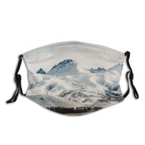 yanfind Idyllic Ice Glacier Daylight Frost Mountain Gloomy Snowy Clouds Frozen Tranquil High Dust Washable Reusable Filter and Reusable Mouth Warm Windproof Cotton Face