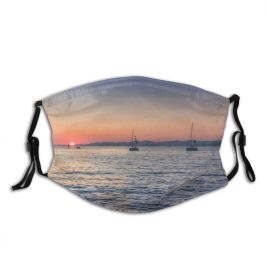 yanfind Idyllic Transportation Golden Sunset Croatia Dawn Watercrafts Tranquil Dramatic Scenery Mountains Sail Dust Washable Reusable Filter and Reusable Mouth Warm Windproof Cotton Face