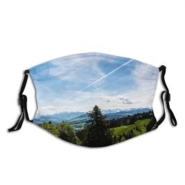 yanfind Idyllic Trail Pine Mountain Forest Clouds Scenery Mountains Grass Highlands Valley Trees Dust Washable Reusable Filter and Reusable Mouth Warm Windproof Cotton Face