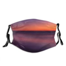yanfind Dawn Dramatic Landscape Tranquility Coastline Island Scene Softness Sunrise Ocean Abstract York Dust Washable Reusable Filter and Reusable Mouth Warm Windproof Cotton Face