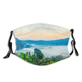 yanfind Idyllic Tropical Mountain Rock Forest Plants Tranquil Morning Beautiful Rural Misty Trees Dust Washable Reusable Filter and Reusable Mouth Warm Windproof Cotton Face
