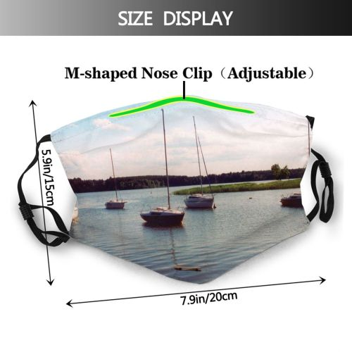 yanfind Wdzydzkie Lake Waterway Sky Vehicle Lake Poland Kaszuby Loch Boat Wdzydzie River Dust Washable Reusable Filter and Reusable Mouth Warm Windproof Cotton Face