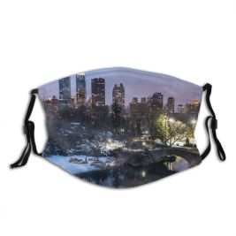 yanfind Central Ice Sport Skyscraper Manhattan Frozen Tranquiy Rink Gapstow Tree Night Snow Dust Washable Reusable Filter and Reusable Mouth Warm Windproof Cotton Face