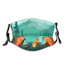 yanfind Camp Vacation Tourist Star River  Moon Forest Scene Hiking Sky Expedition Dust Washable Reusable Filter and Reusable Mouth Warm Windproof Cotton Face