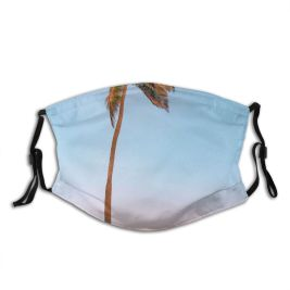 yanfind Idyllic Tropical Oceanside Exotic Dawn Seaside Sea Summertime Beach Palm Tree Horizon Dust Washable Reusable Filter and Reusable Mouth Warm Windproof Cotton Face