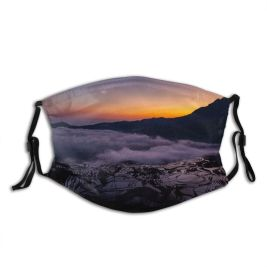 yanfind Dawn Atmospheric East Dramatic Mood Landscape Paddy Agriculture Chinese Rural Scene Sunrise Dust Washable Reusable Filter and Reusable Mouth Warm Windproof Cotton Face