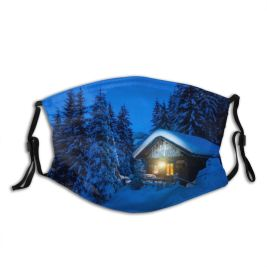 yanfind Cabin Landscape Solitude Tranquility Austria Rustic Built Rural Tree Scene Night Snow Dust Washable Reusable Filter and Reusable Mouth Warm Windproof Cotton Face