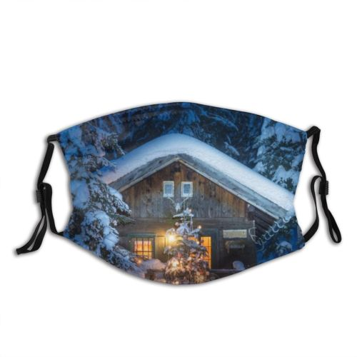 yanfind Cabin Landscape Solitude Tranquility Rustic Austria Built Rural Tree Scene Night Snow Dust Washable Reusable Filter and Reusable Mouth Warm Windproof Cotton Face