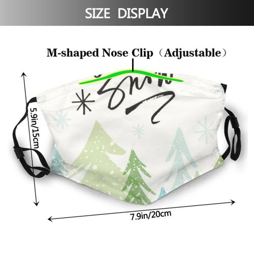 yanfind Calligraphy Tree Snow Modern Event Forest Space Art Simplicity Pine USA Snowflake Dust Washable Reusable Filter and Reusable Mouth Warm Windproof Cotton Face