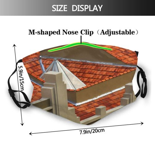 yanfind Whim Brick Home Tile Tack Wire Roof Estate Yellows Roof Window Reds Dust Washable Reusable Filter and Reusable Mouth Warm Windproof Cotton Face