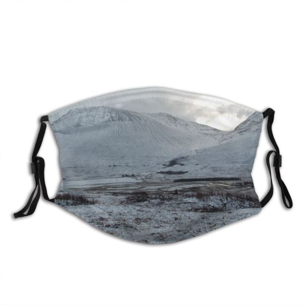yanfind Winter Fell Landforms Geological Landscape Highland Scotland Mountain Sky Mountainous Snow Hill Dust Washable Reusable Filter and Reusable Mouth Warm Windproof Cotton Face